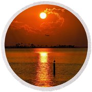 Nwfl Golden Sunset I Mlo Round Beach Towel