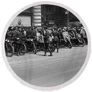 Ny Armored Motorcycle Squad  Round Beach Towel