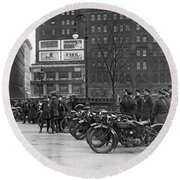 Ny Motorcycle Police Round Beach Towel
