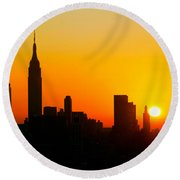 Ny  Sunrise For Thanksgiving Round Beach Towel
