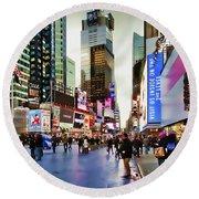 Ny Times Square Impressions I Round Beach Towel