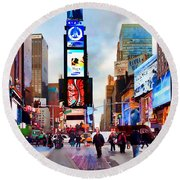 Ny Times Square Impressions IIi Round Beach Towel