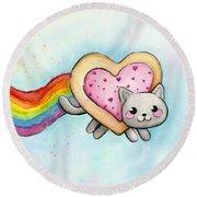 Nyan Cat Valentine Heart Round Beach Towel by Olga Shvartsur