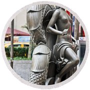 Nyc - Manhattan - Rockefeller Center - First Human Maiden Made F Round Beach Towel