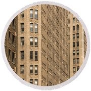 Nyc Brown Tones Round Beach Towel