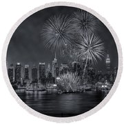 Nyc Celebrate Fleet Week Bw Round Beach Towel