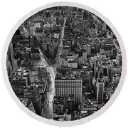 Nyc Downtown - Black And White Round Beach Towel
