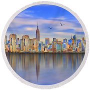 Nyc Reflections Round Beach Towel