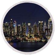 Nyc Skyline Full Moon Panorama Round Beach Towel by Susan Candelario