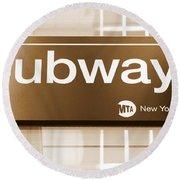Nyc Subway Sign Round Beach Towel
