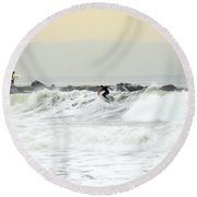 Nyc Surfing Area Round Beach Towel
