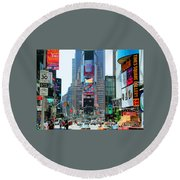 New York City Times Square Round Beach Towel