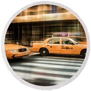 Nyc Yellow Cabs Round Beach Towel