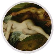 Nymph And Satyr Round Beach Towel