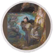 Nymphs At A Grotto Round Beach Towel
