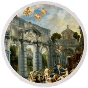 Nymphs At The Fountain Of Love Round Beach Towel