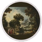 Nymphs Turning The Apulian Shepherd Into An Olive Tree Round Beach Towel