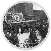 Nypd Bicycle Force Round Beach Towel