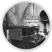 Nypd Radio Station, Wlaw Round Beach Towel
