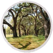 Oak Allee At Roseland Plantation  Round Beach Towel