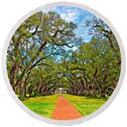 Oak Alley 3 Oil Round Beach Towel