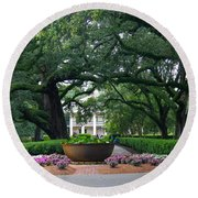Oak Alley Courtyard Round Beach Towel
