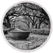 Oak Alley Plantation Landscape In Bw Round Beach Towel