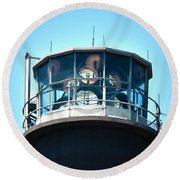 Oak Island Lighthouse Beacon Lights Round Beach Towel