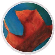 Oak Leaf Oil Painting Round Beach Towel