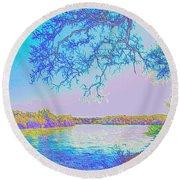 Oak On The Sacramento River - Pastel Round Beach Towel