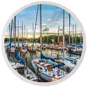 Oak Pt Harbor At Sundown Round Beach Towel