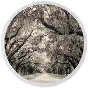 Oak Trees Of Charleston South Carolina In Sepia Round Beach Towel