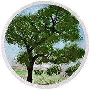 Oak Tree Landscape Round Beach Towel