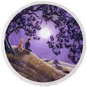 Oak Tree Meditation Round Beach Towel
