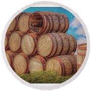 Oak Wine Barrels Round Beach Towel
