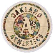Oakland Athletics Poster Vintage Round Beach Towel