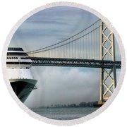 Oakland Bay Bridge  Round Beach Towel