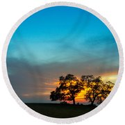 Oaks And Sunset 2 Round Beach Towel by Terry Garvin