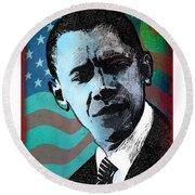 Obama-3 Round Beach Towel