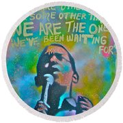 Obama In Living Color Round Beach Towel