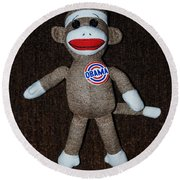 Obama Sock Monkey Round Beach Towel
