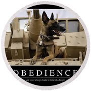 Obedience Inspirational Quote Round Beach Towel