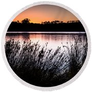 Obidos Lagoon Sunrise Round Beach Towel