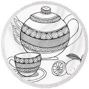Object Tea Kettle Round Beach Towel by MGL Meiklejohn Graphics Licensing