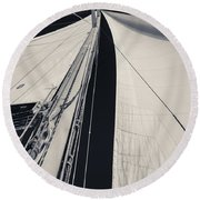 Obsession Sails 2 Black And White Round Beach Towel