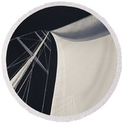 Obsession Sails 3 Black And White Round Beach Towel