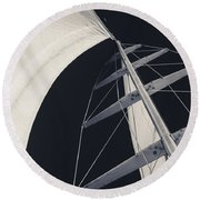 Obsession Sails 5 Black And White Round Beach Towel