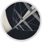 Obsession Sails 7 Black And White Round Beach Towel