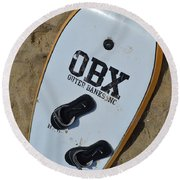 Obx Outer Banks Surf Board Round Beach Towel