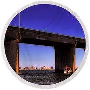 O.c. Bridge N Skyline Round Beach Towel